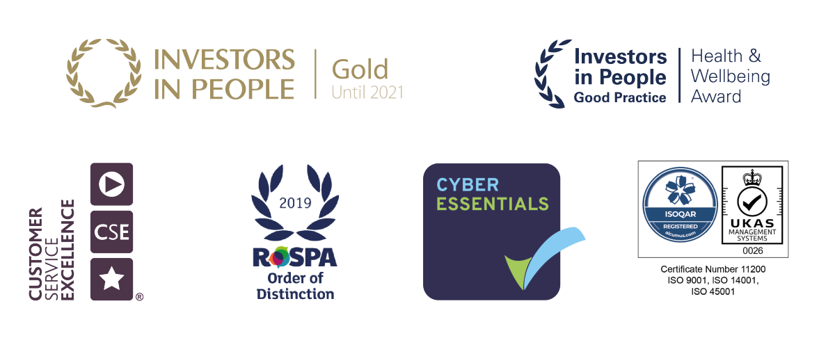 Magenta Living's Accreditation's, Investors in People, Customer Service Excellence, ROSPA, Cyber Essentials and ISO