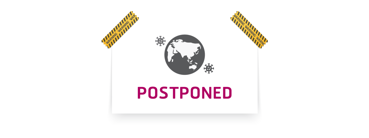 Image of a sign on wall stating 'postponed'