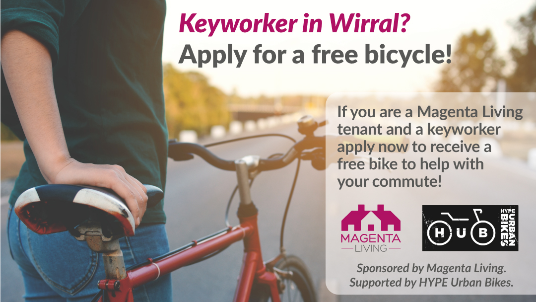 Keyworker in wirral image with Magenta Living & HYPE logo's
